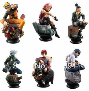 Anime Naruto Uzumaki Naruto Sasuke Gaara Kakashi Chess PVC Action Figures Collection