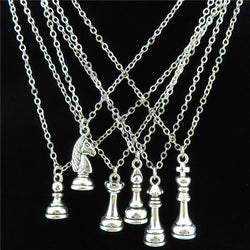 Silver International Chess Pawn King Queen Knight Choker Chain Necklace 18