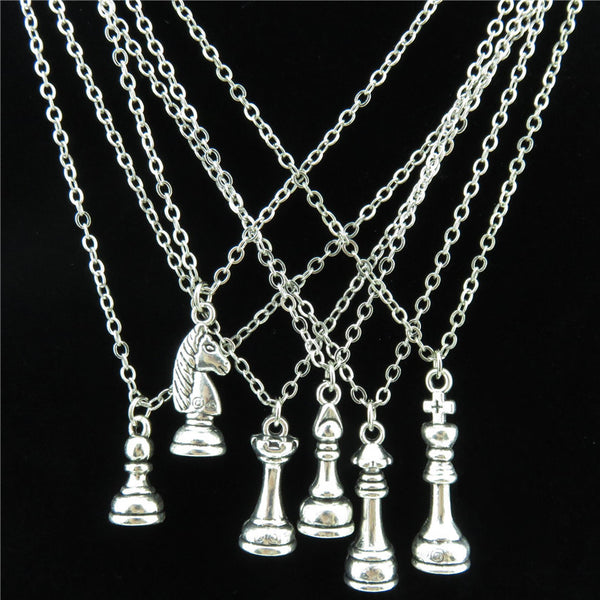 Vintage Silver Chess Necklace with Pendant