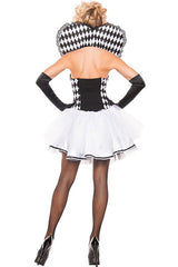Three-piece Black And White Heart Printed Adult Make Up Costumes