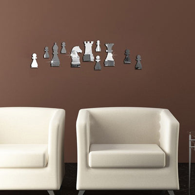 Playful Artistic Wall Decor with Mirror Wall Decal Silver - 11 Chess Pieces