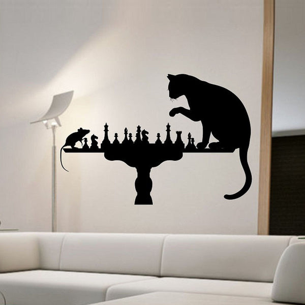 Cat Playing Chess With Mouse Wall Stickers Home Decor Vinyl Removable Creative Wall Decals Animals