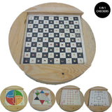 Creative 5-in-1 Wooden Checkers Flight Chess Toys Board Game