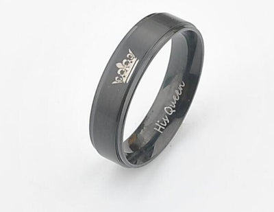 Black plated color stainless steel HIS QUEEN and HER KING couple rings for lovers