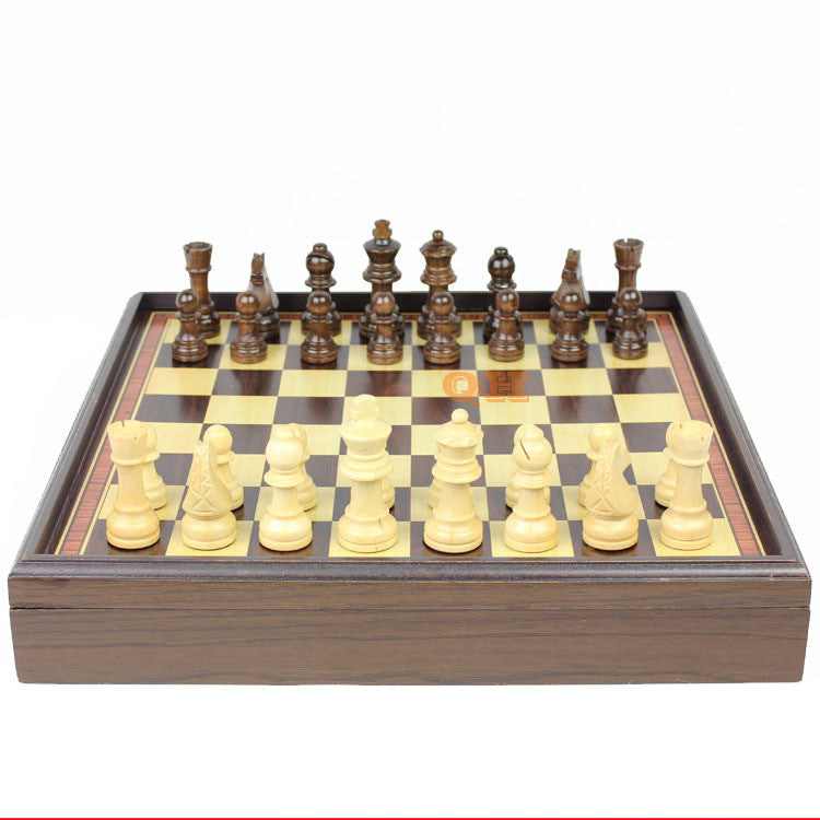 High quality wooden table chess set with felt bottom and storage for the pieces