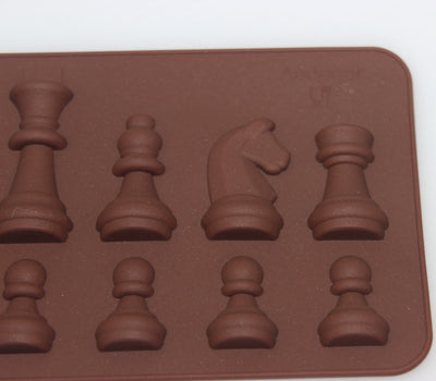 15-Cavity Chess Shaped Ice Chocolate Sugar Cake Silicone Mini Cube Tray  Chess