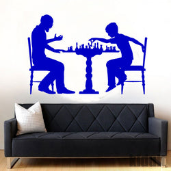 Dad and Son playing chess Wall Sticker