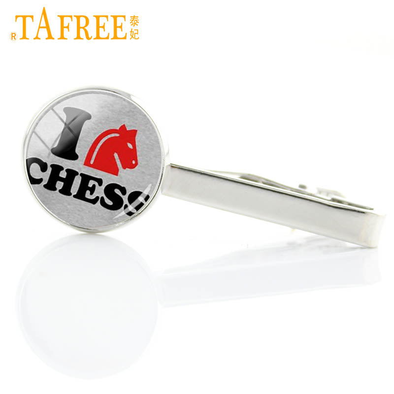 Vintage I Love chess tie clip / pin dress acessories