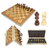 Magnetic wood folding board, solid chessman, inlining packaging wooden chess