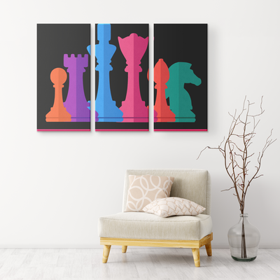 Chess warriors - colorful 3 piece canvas wall art