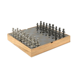 Black and Gray Chess Set in Rustic Ashwood Chest