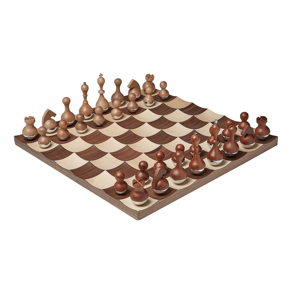 Maple and Walnut concave chess set