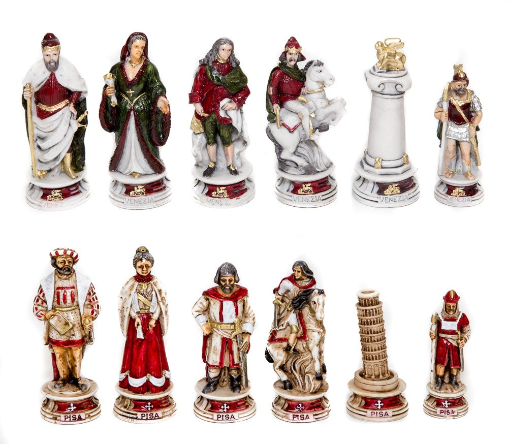 Pisa and Venice Chessmen and Superior Board