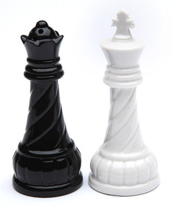 Chess King Queen Salt and Pepper Shaker Set - Black and White