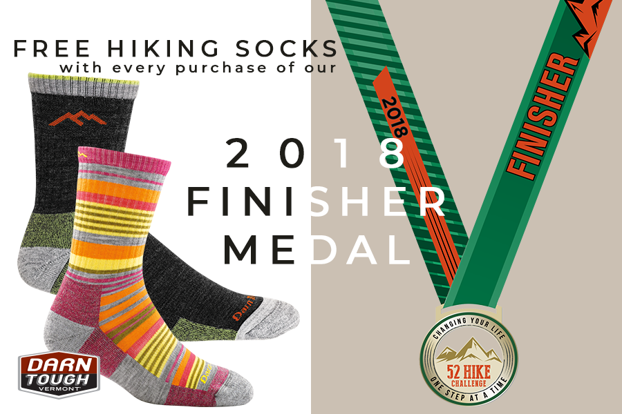 2018 FINISHER MEDAL AND FREE HIKING SOCKS