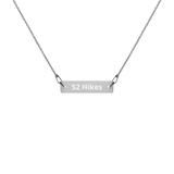52 Hikes Engraved Silver Bar Necklace