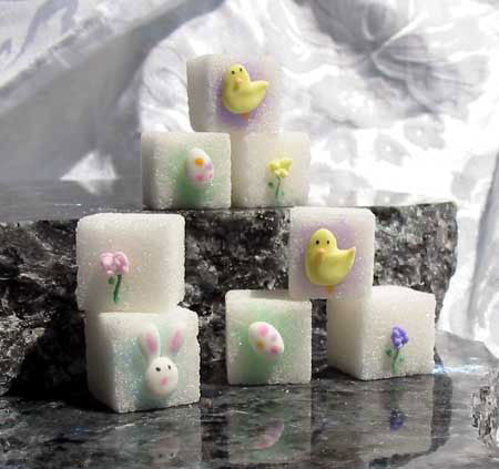 Decorated sugar cubes with Easter bunnies, eggs, flowers, and chicks