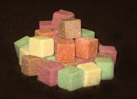 Mini-sized sugar cubes in autumn colors
