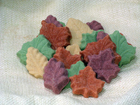 Tea sugars in various leaf shapes and autumn colors