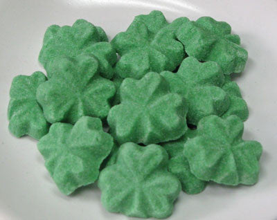 Tea sugars shaped like green shamrocks