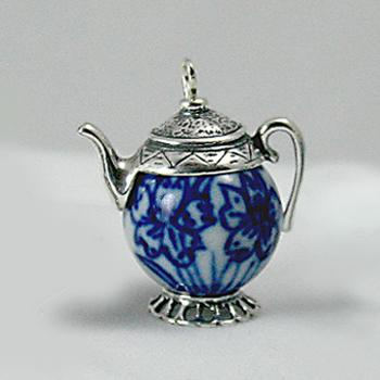 Blue and White Porcelain Teapot Charm