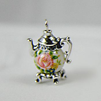 Pink Rose on White Teapot Charm