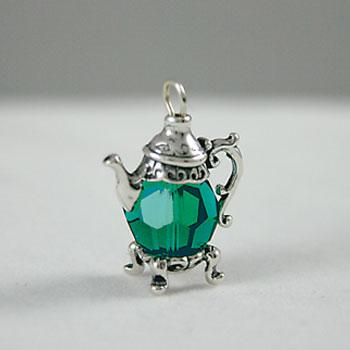 Emerald Green Crystal Teapot Charm