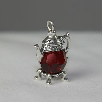 Crimson Red Crystal Teapot Charm