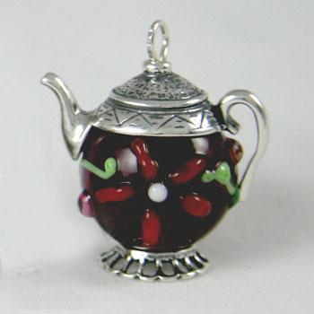 Czech Raised Glass Bead Teapot Charm