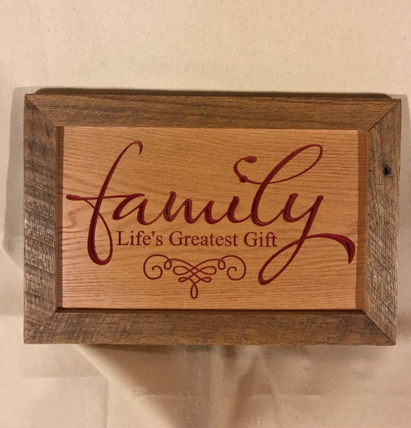 Engraved Sign with Reclaimed Trim