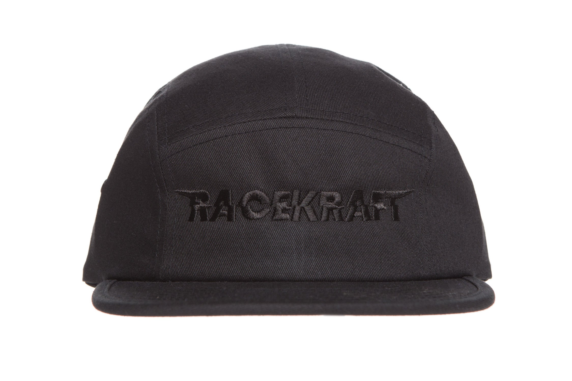 "Five panel Black Cotton Cap ""Black RaceKraft"""