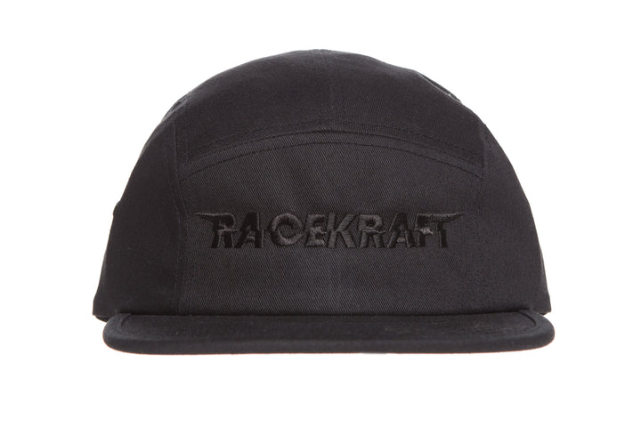 Five panel Black Cotton Cap