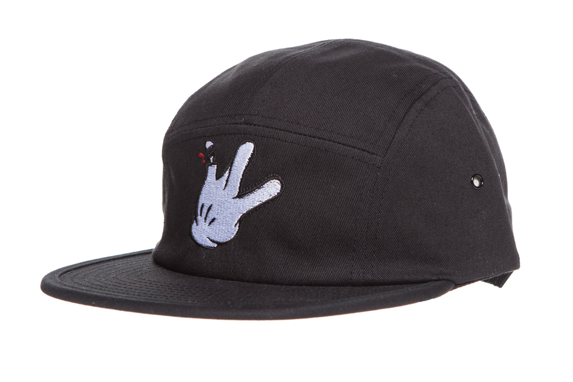 "Five Panel Black Cotton Cap ""Glove"""