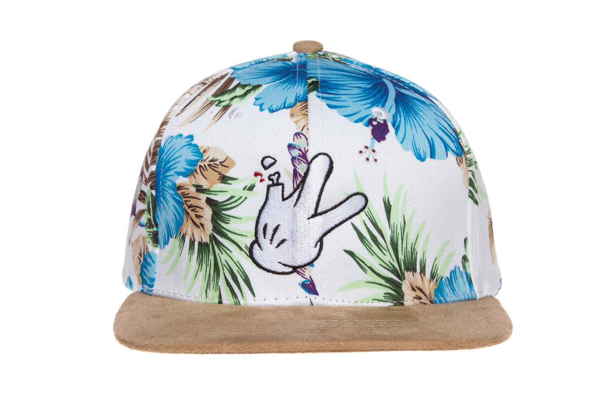 White Floral Suede Bill Snapback