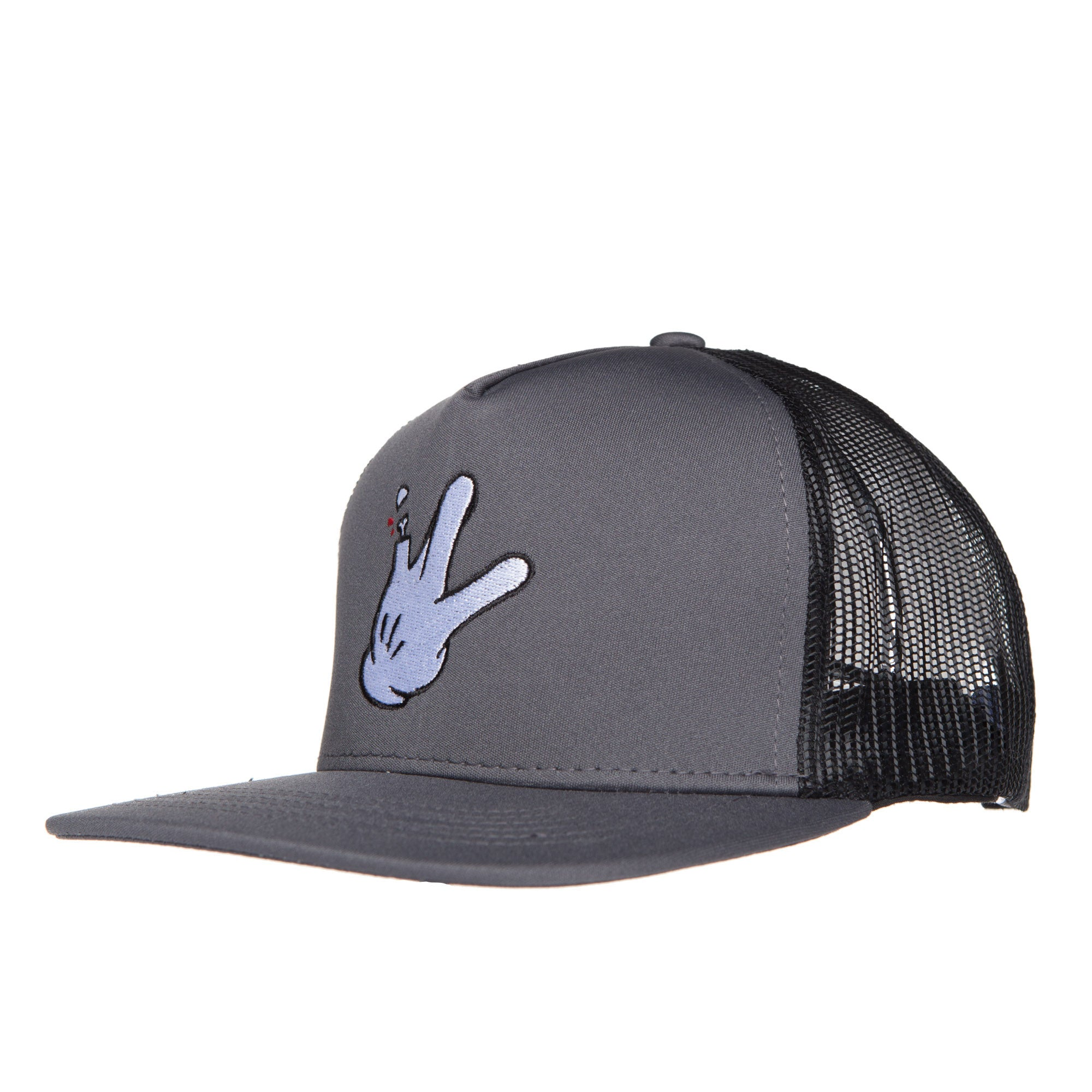 "5 Panel Grey/Black Mesh Flatbill RaceKraft ""Glove"" Trucker Hat"