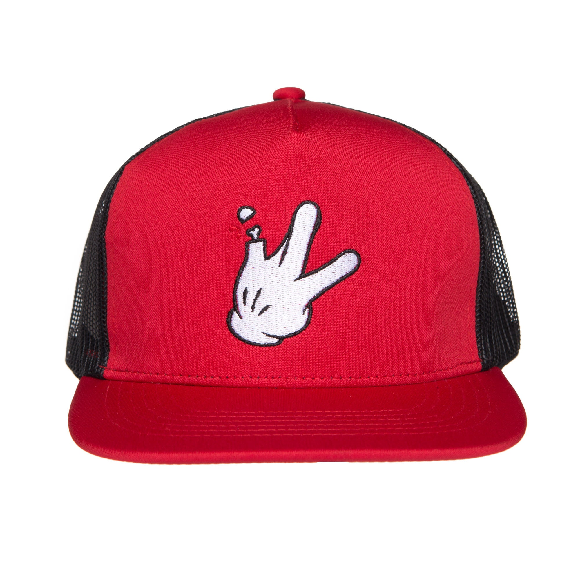 "5 Panel Red/Black Mesh Flatbill RaceKraft ""Glove"" Trucker Hat"