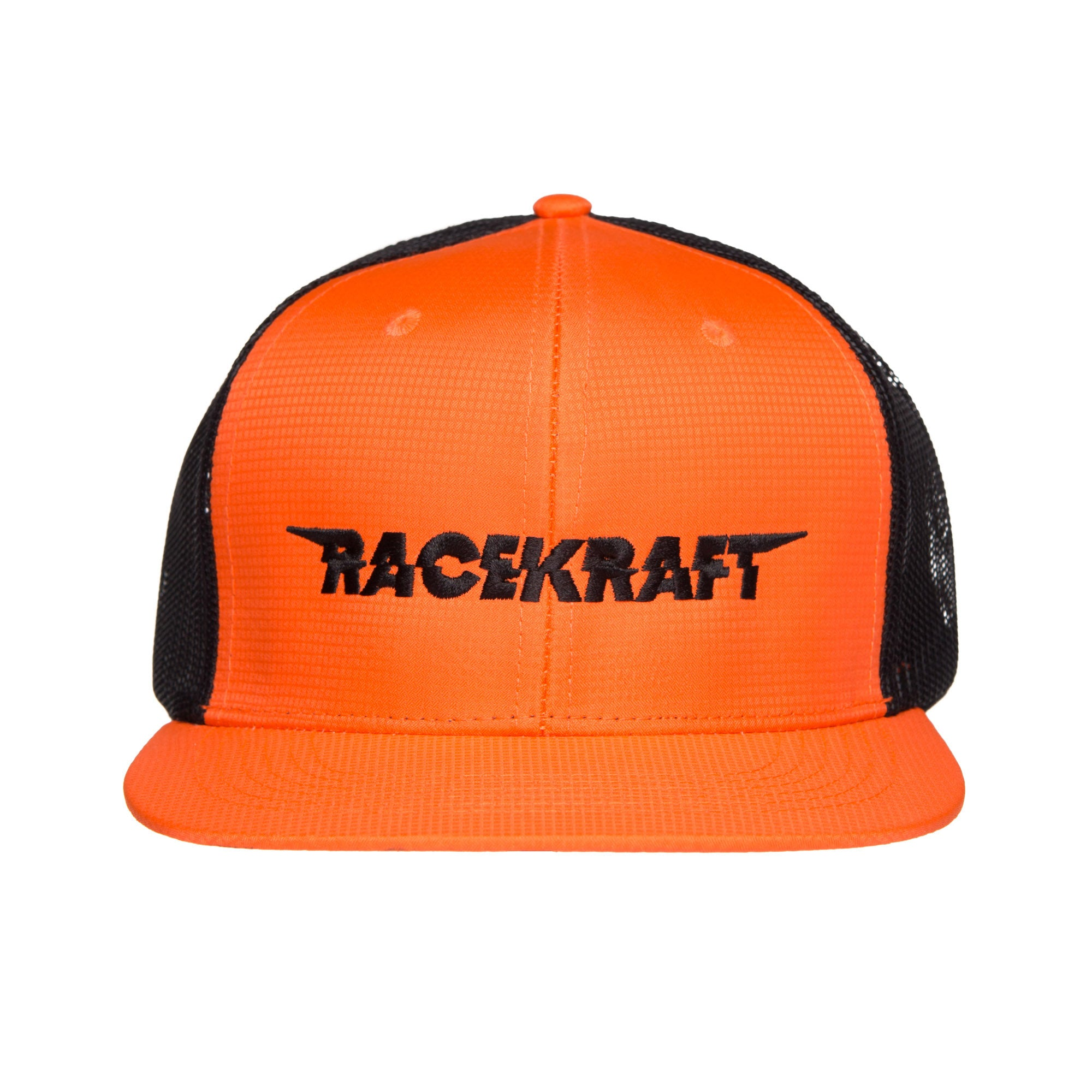 "6 Panel Micro-Fiber Orange/Black Mesh Flatbill RaceKraft ""Black RaceKraft"""