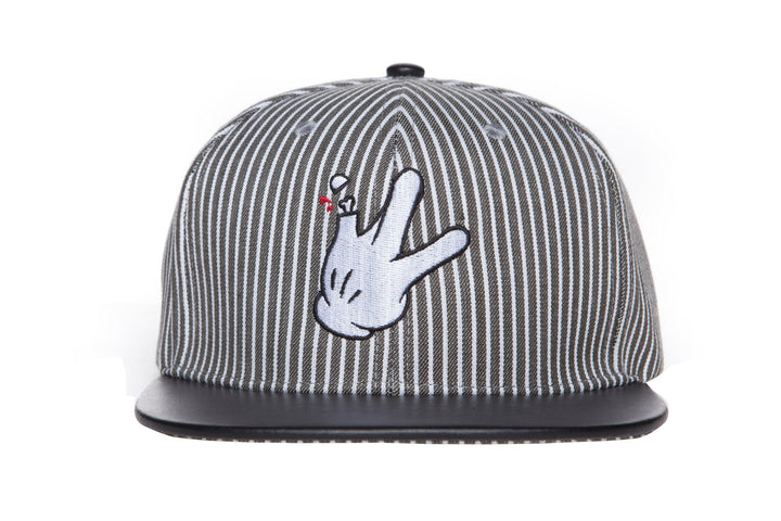 RaceKraft Pinstripe Cartoon Glove Snapback (Black)