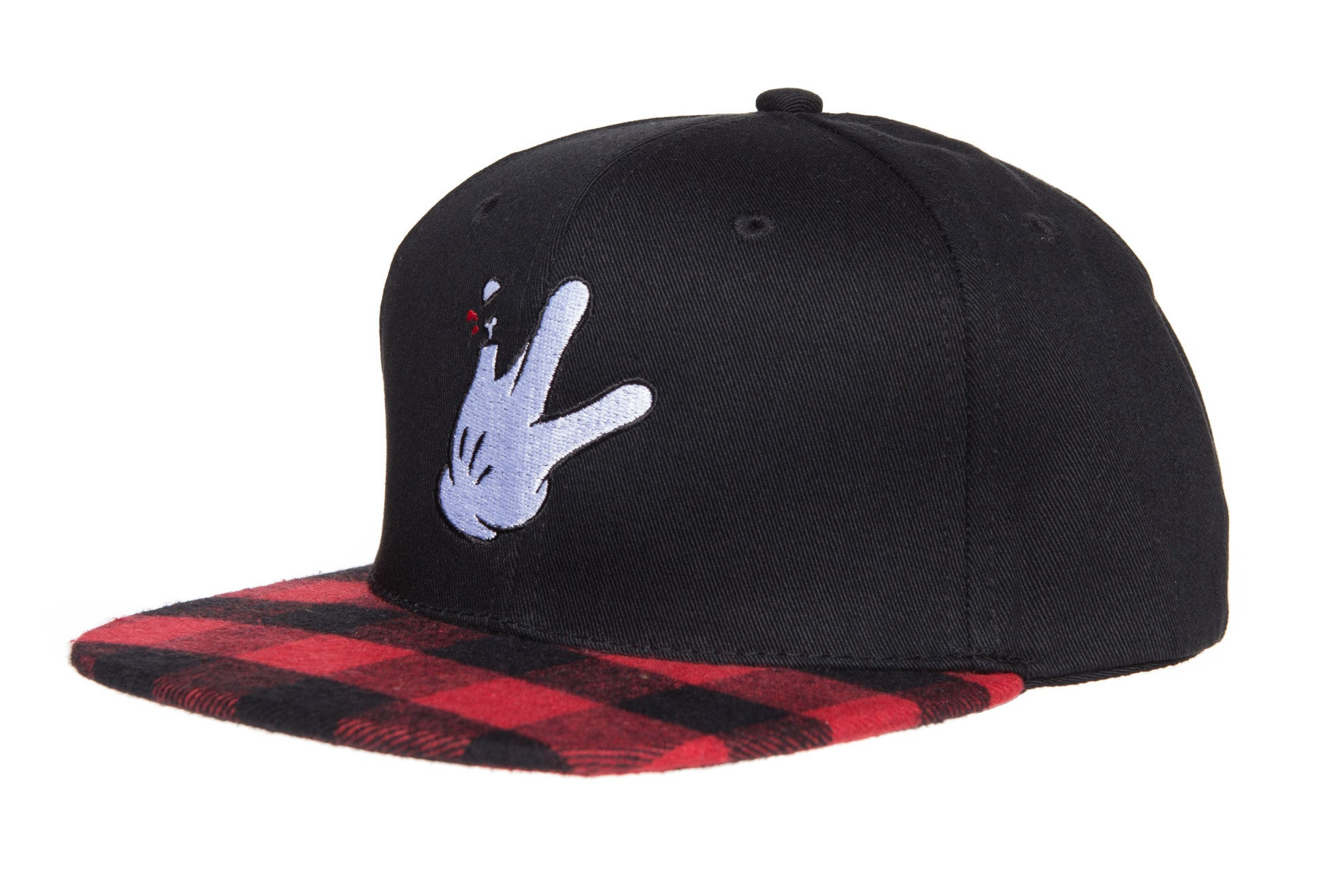 RaceKraft Plaid Cartoon Glove Snapback (Red/Black)