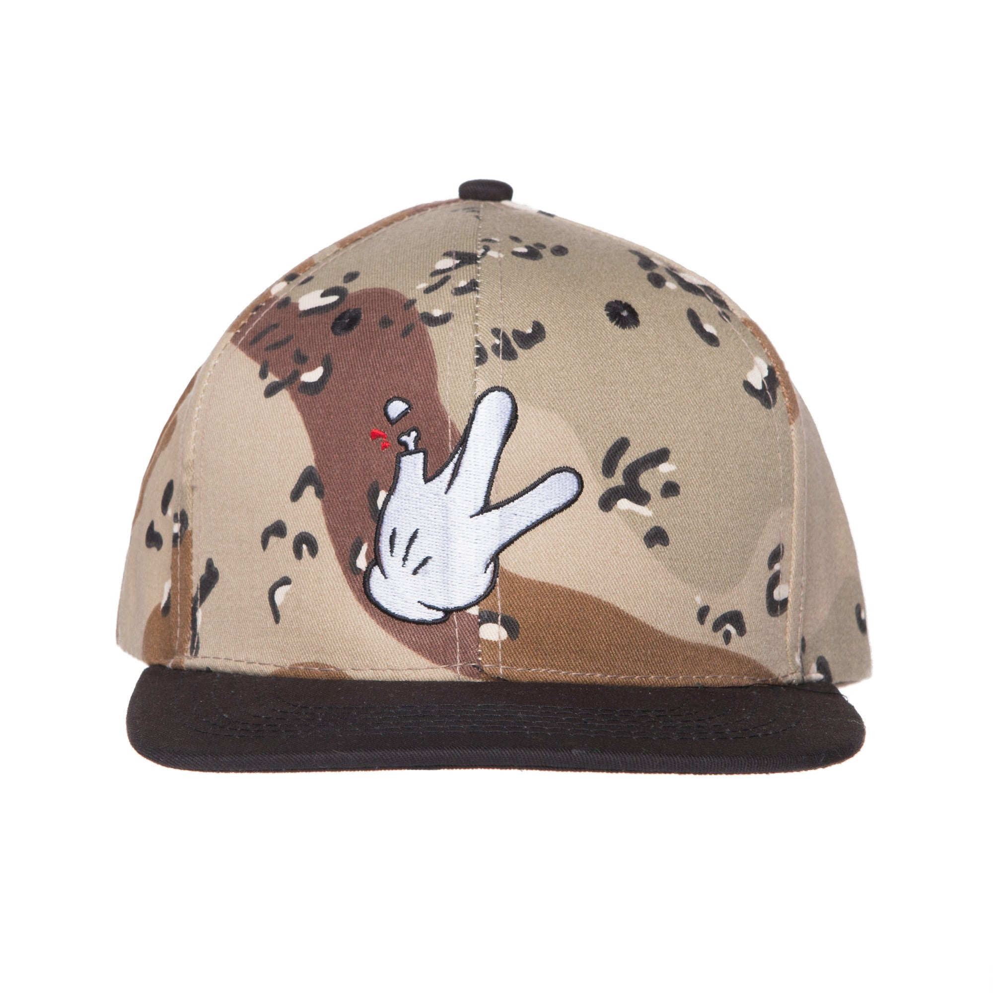 "Cotton Dessert Camo/Black Flatbill RaceKraft ""Glove"" SnapBack Hat"