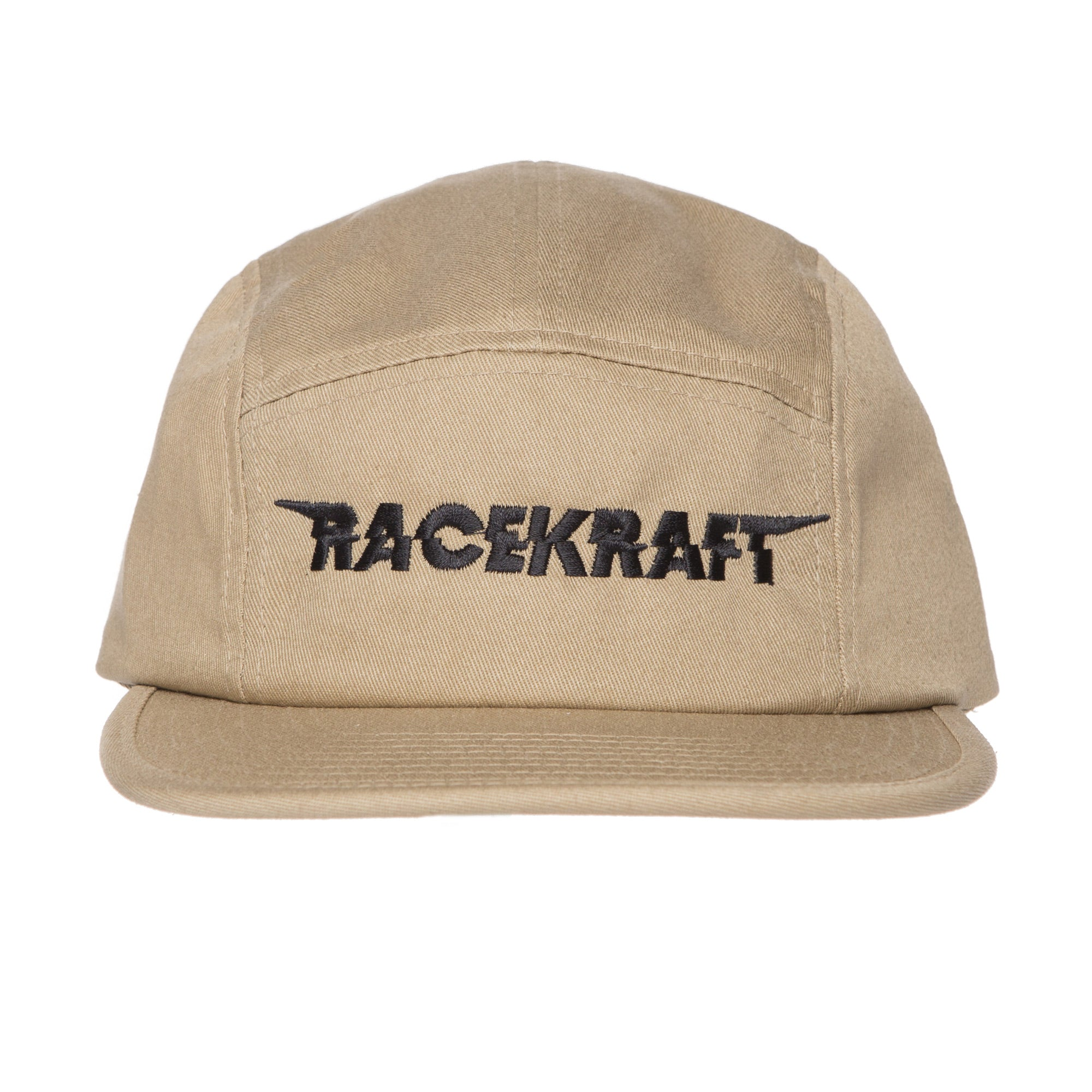 "5 Panel Khaki Cotton Cap ""Black RaceKraft"" Strapback Hat"