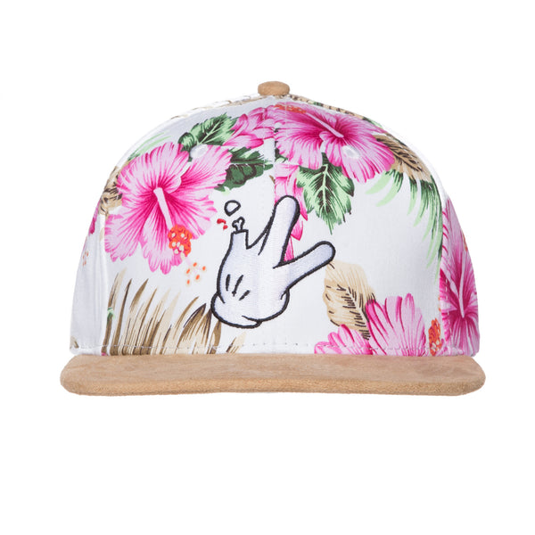 Cotton Floral Pink/Ivory Suede Flatbill RaceKraft