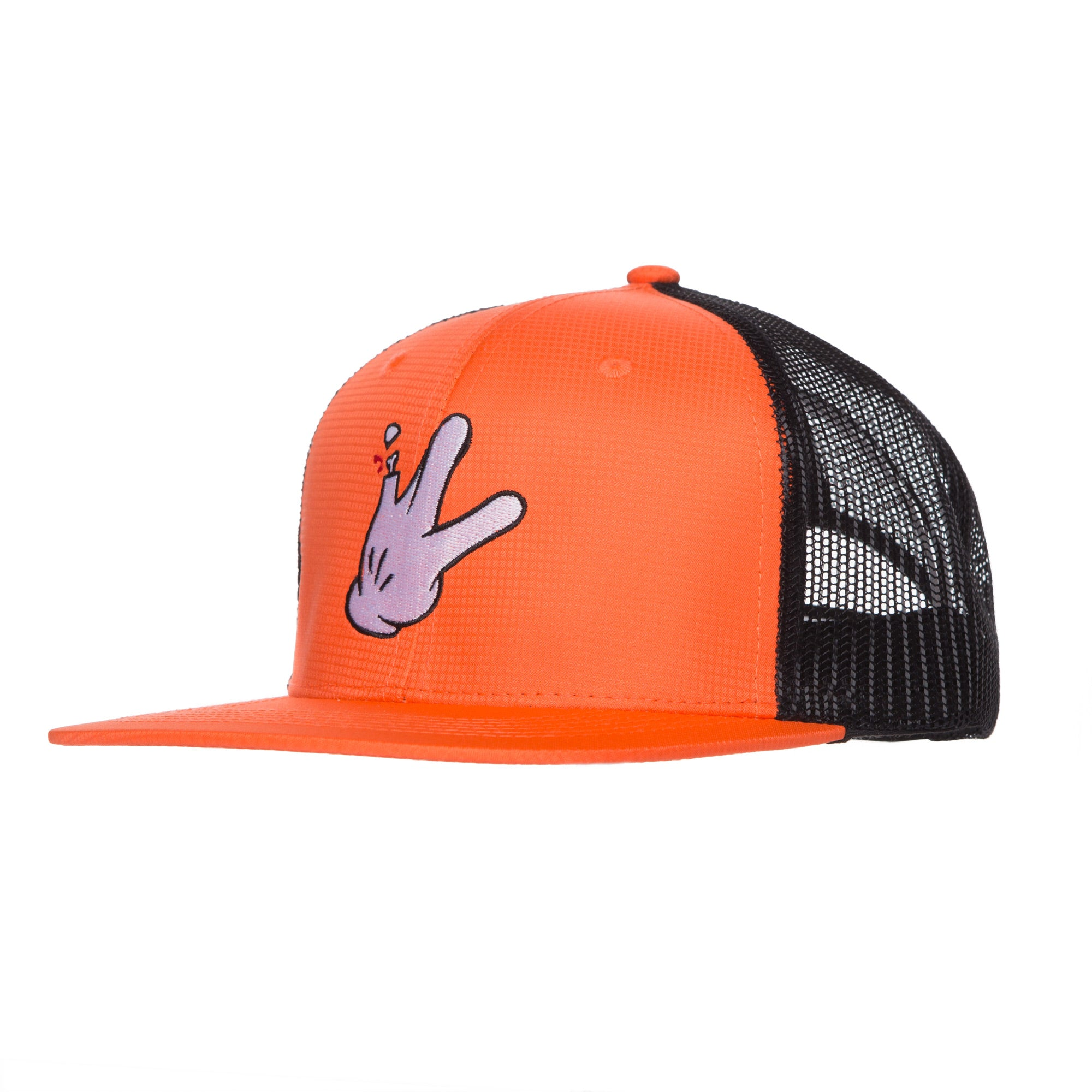 "6 Panel Micro-Fiber Orange/Black Mesh Flatbill RaceKraft ""Glove"" Trucker Hat"