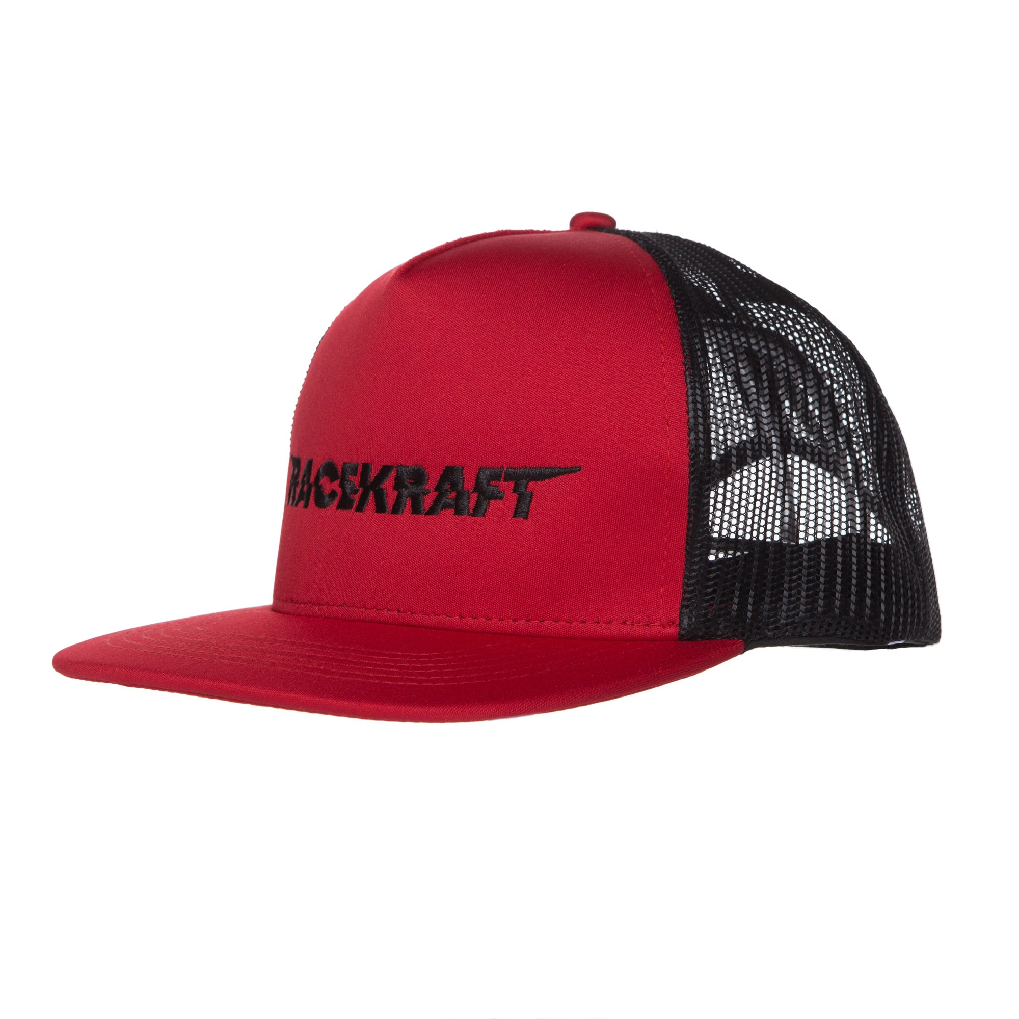 "5 Panel Red/Black Mesh Flatbill RaceKraft ""Black RaceKraft"" Trucker Hat"