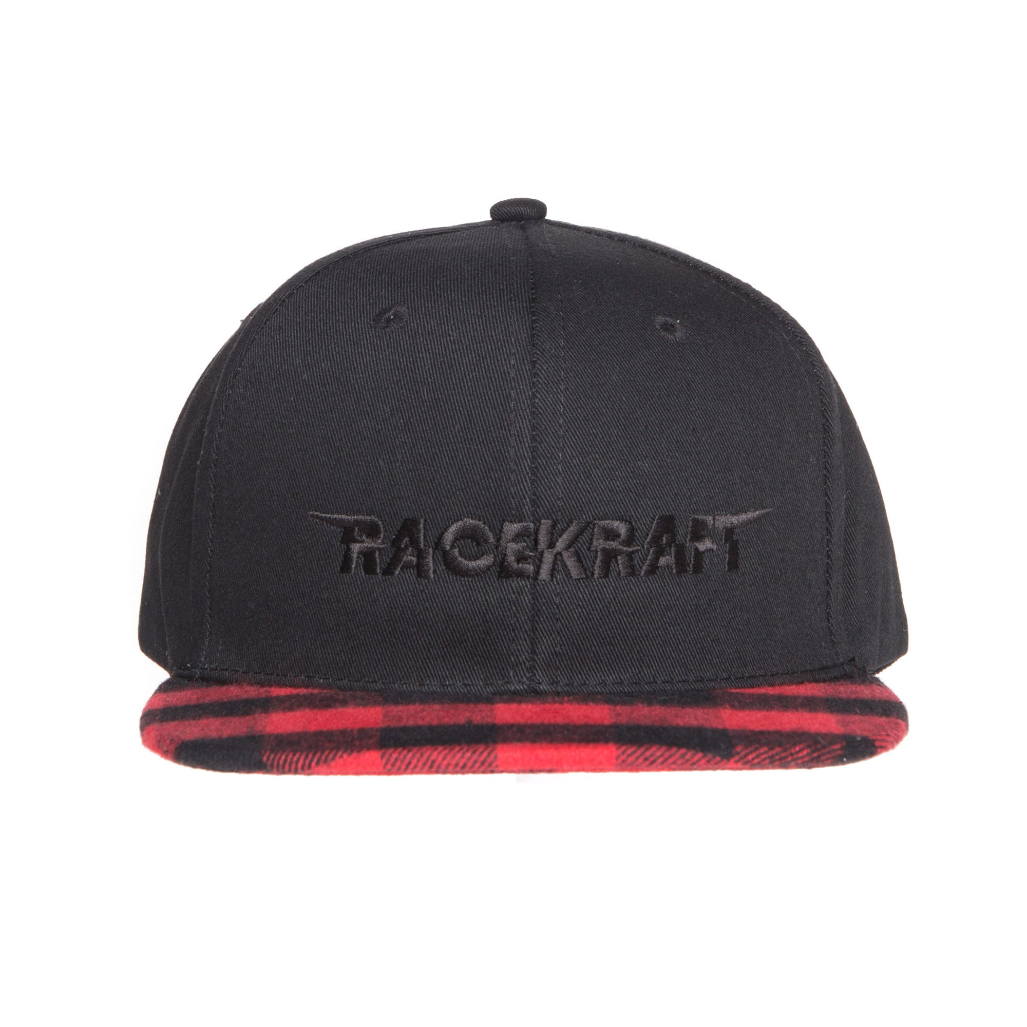 "Red Plaid Wool Flat Bill RaceKraft ""Black RaceKraft"" SnapBack"