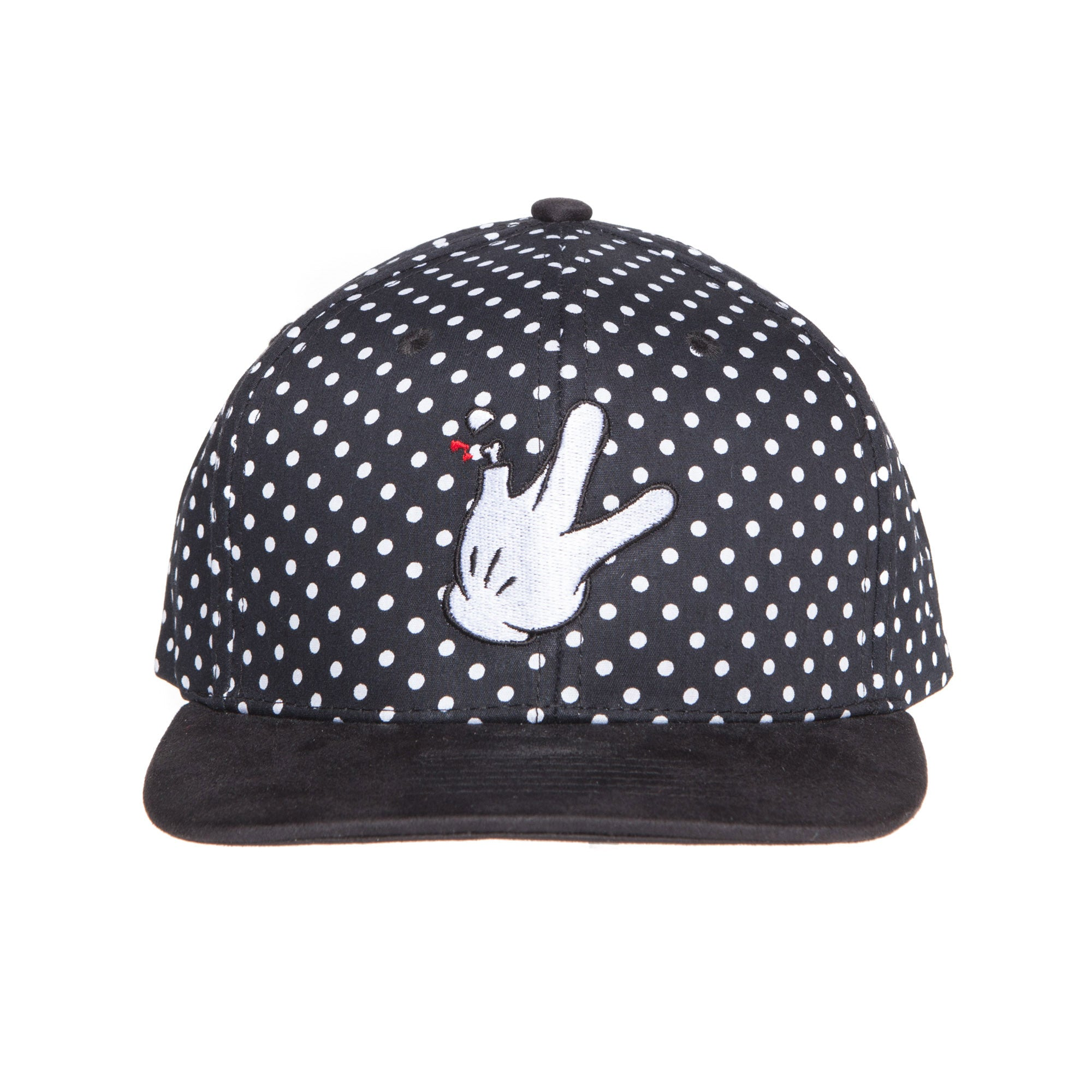 "Polka Dot Suede Flat Bill RaceKraft ""Glove"" Strap Back Hat"
