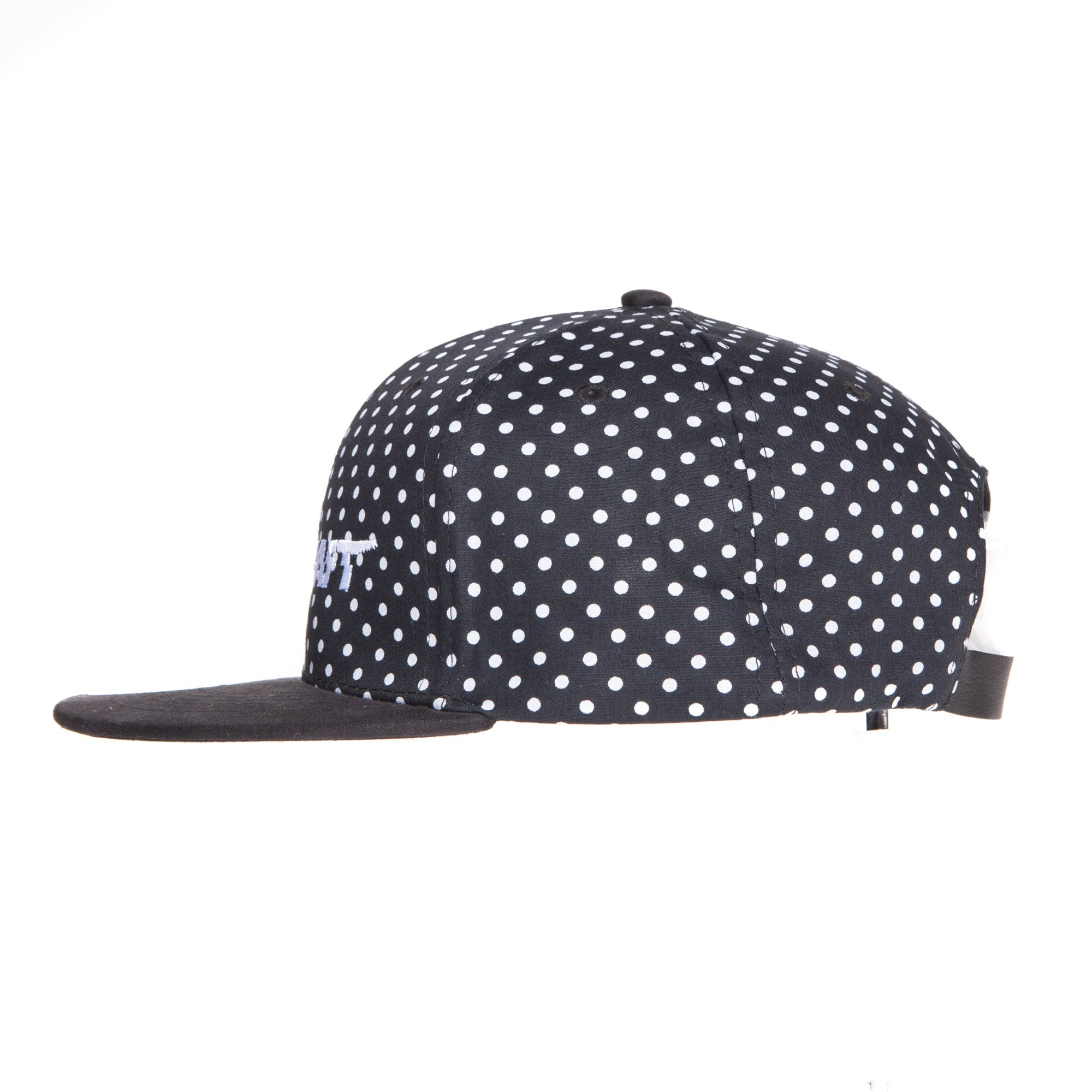 "Polka Dot suede Flat Bill ""White Racekraft""Strap Back Hat"
