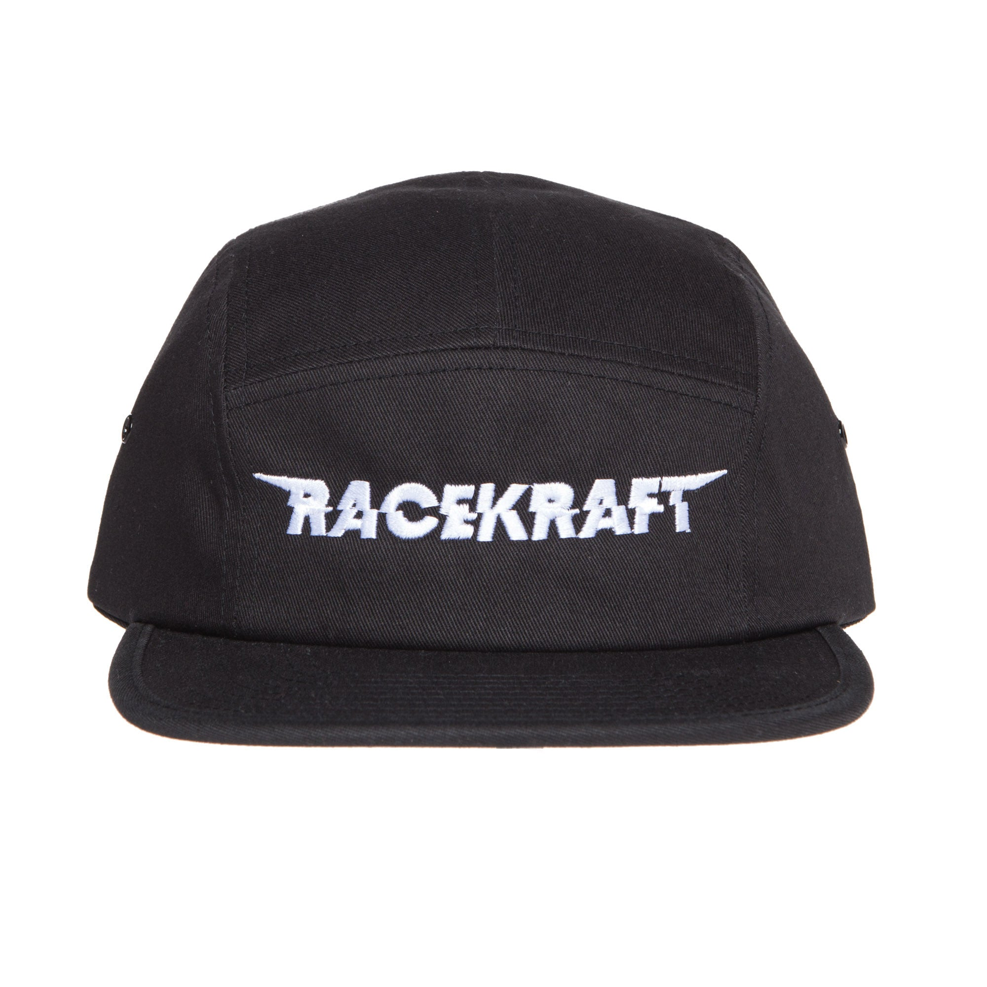 "5 panel Black Cotton Cap ""White RaceKraft"""