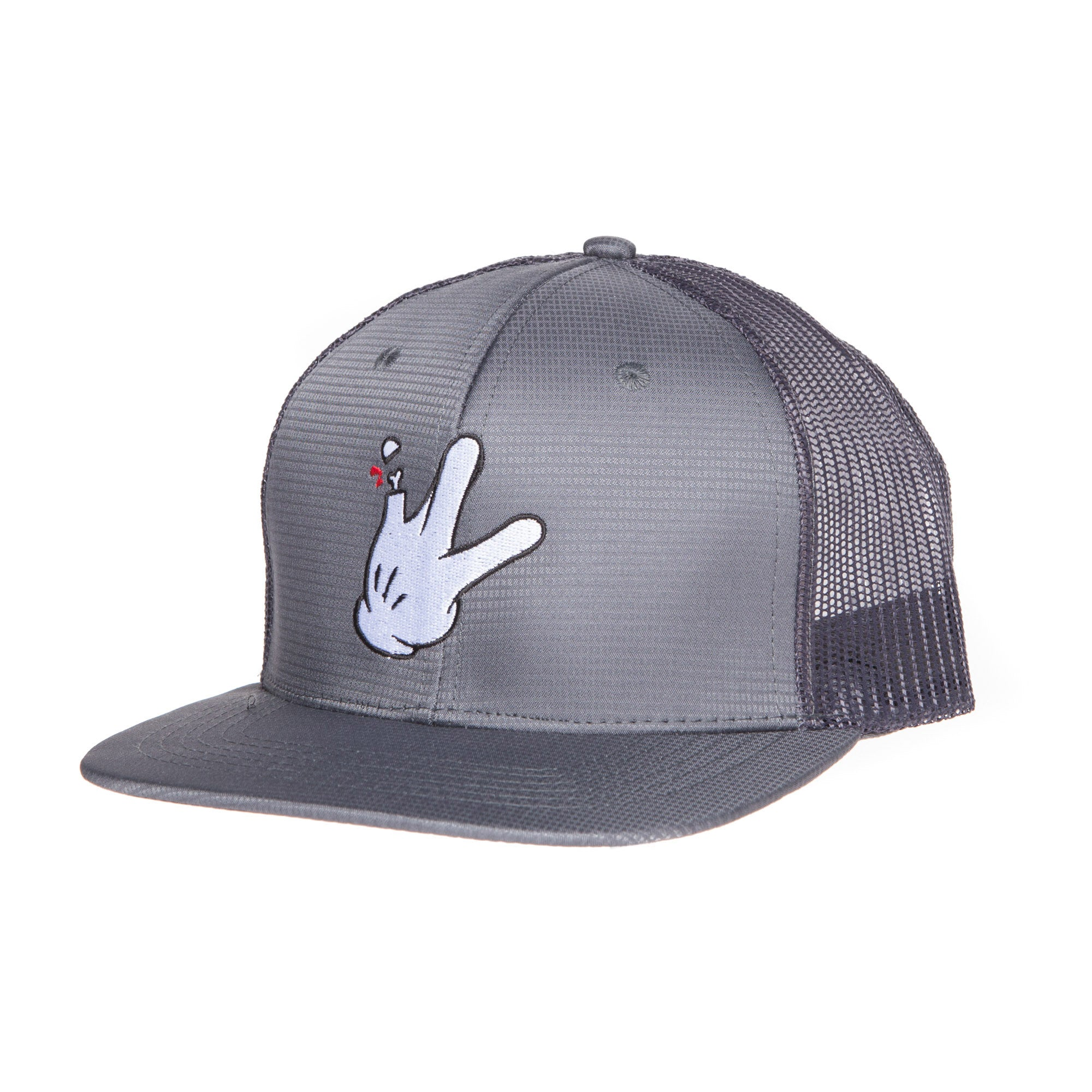 "Dark Grey Polyblend RaceKraft ""Glove"" Trucker Hat"