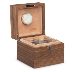 Cannaseur® Cube Walnut Humidor with 4 Jars and Lock - Cannaseur